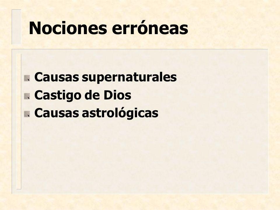 Causas supernaturales Castigo de Dios Causas astrológicas Nociones erróneas