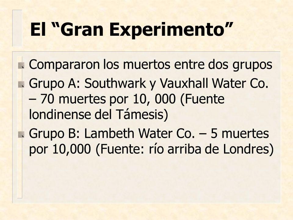 Compararon los muertos entre dos grupos Grupo A: Southwark y Vauxhall Water Co. – 70 muertes por 10, 000 (Fuente londinense del Támesis) Grupo B: Lamb