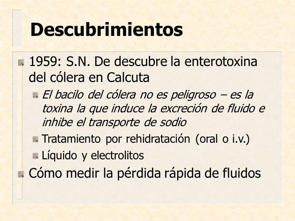 1959: S.N. De descubre la enterotoxina del cólera en Calcuta El bacilo del cólera no es peligroso – es la toxina la que induce la excreción de fluido