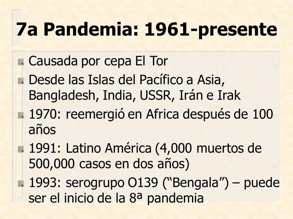 Causada por cepa El Tor Desde las Islas del Pacífico a Asia, Bangladesh, India, USSR, Irán e Irak 1970: reemergió en Africa después de 100 años 1991:
