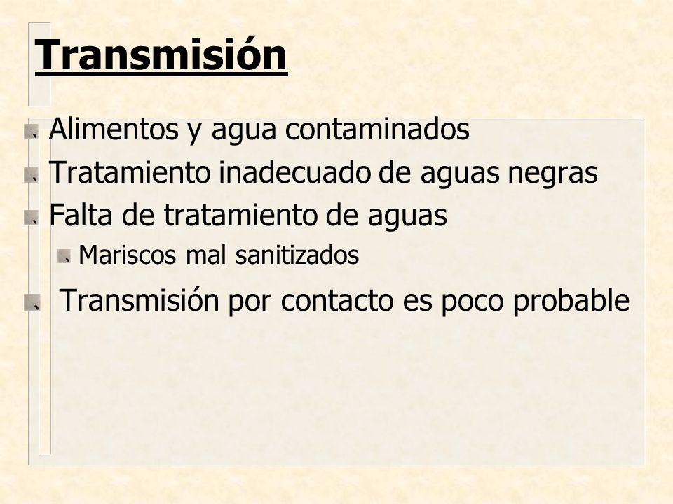 Transmisión Alimentos y agua contaminados Tratamiento inadecuado de aguas negras Falta de tratamiento de aguas Mariscos mal sanitizados Transmisión po