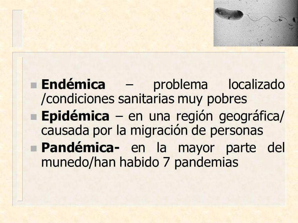 n Endémica – problema localizado /condiciones sanitarias muy pobres n Epidémica – en una región geográfica/ causada por la migración de personas n Pan