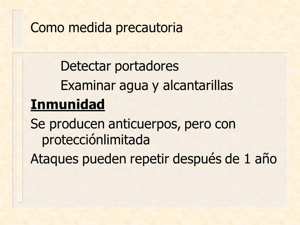 Como medida precautoria Detectar portadores Examinar agua y alcantarillas Inmunidad Se producen anticuerpos, pero con protecciónlimitada Ataques puede