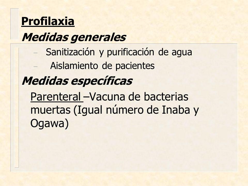 Profilaxia Medidas generales – Sanitización y purificación de agua – Aislamiento de pacientes Medidas específicas Parenteral –Vacuna de bacterias muer