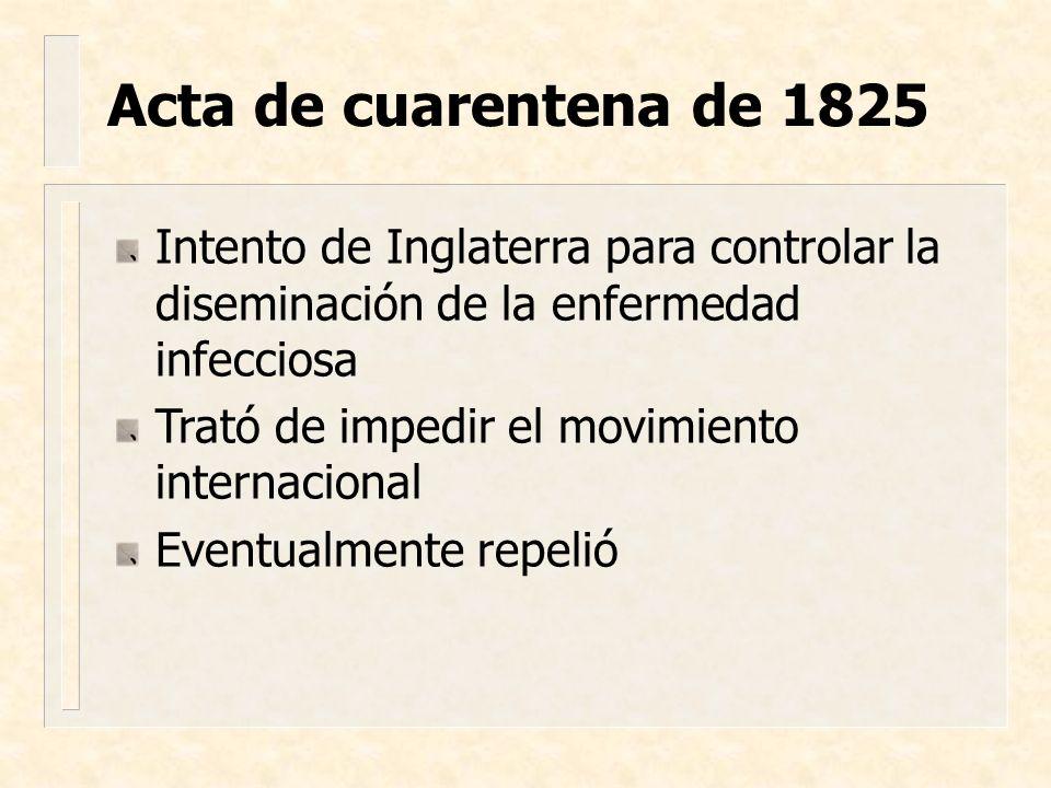 Bengala, Afganistán, Asia, Moscú, Inglaterra y Estados Unidos Revolución Industrial Acta de prevención en 1832 Entró a USA por los puertos de NY y NO– diseminada por el ferrocarril y el movimiento de tropas después de la Guerra Civil 2ª pandemia: 1829-1852