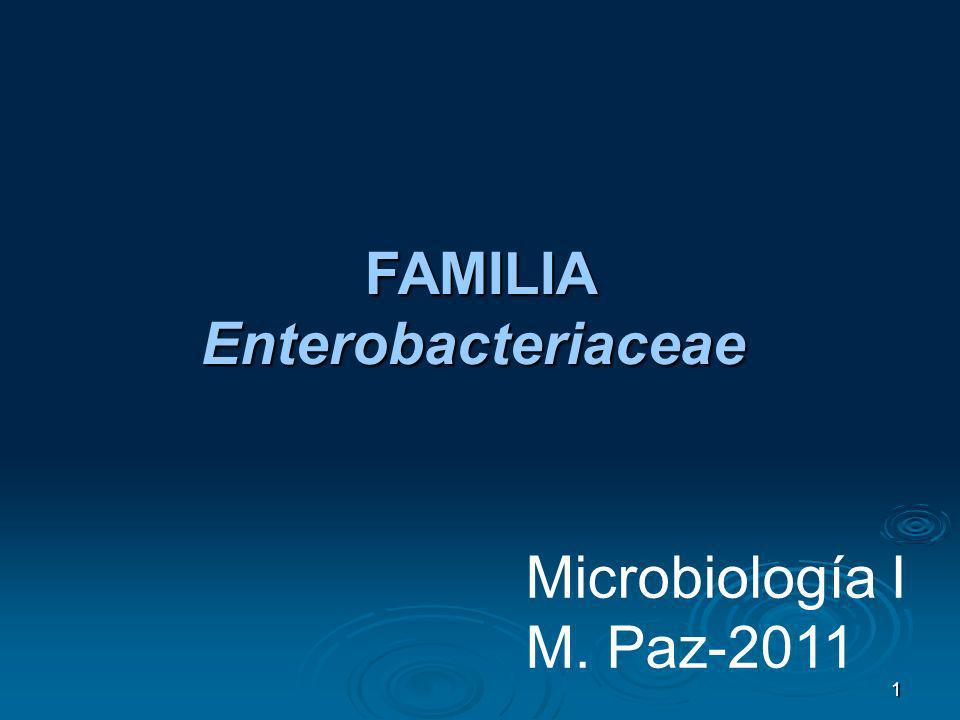 1 Microbiología I M. Paz-2011 FAMILIA FAMILIAEnterobacteriaceae