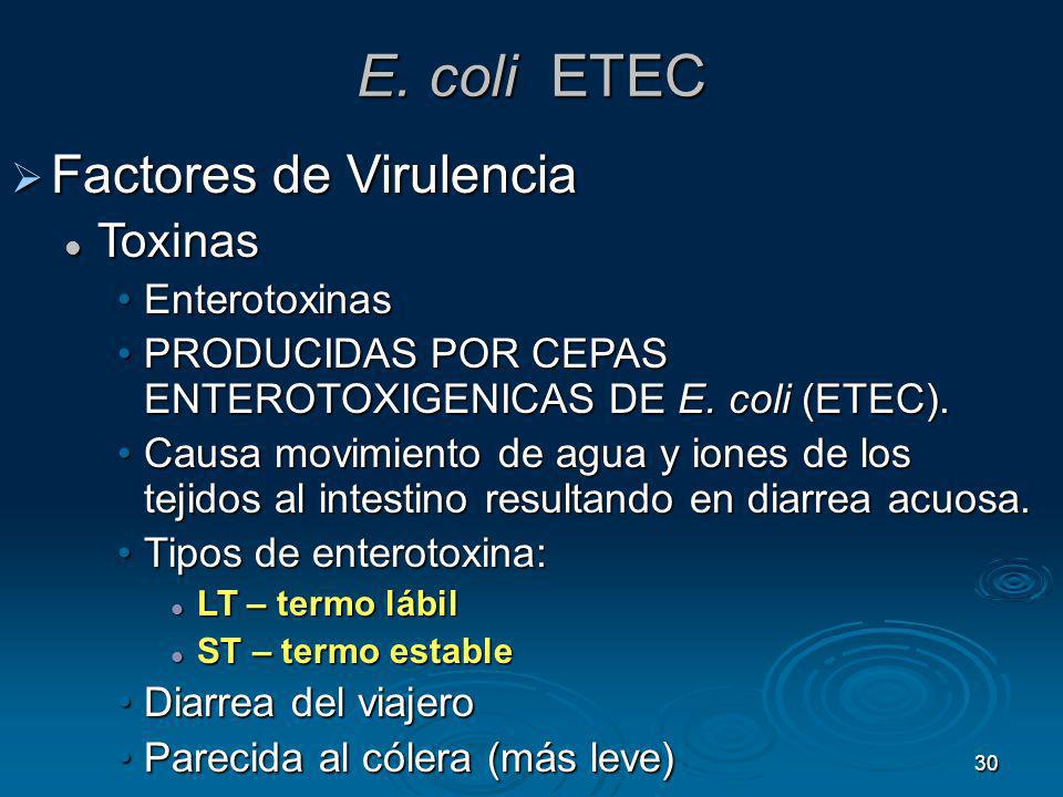 30 E. coli ETEC Factores de Virulencia Factores de Virulencia Toxinas Toxinas EnterotoxinasEnterotoxinas PRODUCIDAS POR CEPAS ENTEROTOXIGENICAS DE E.