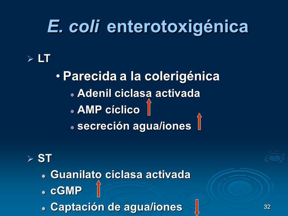 32 E. coli enterotoxigénica LT LT Parecida a la colerigénicaParecida a la colerigénica Adenil ciclasa activada Adenil ciclasa activada AMP cíclico AMP