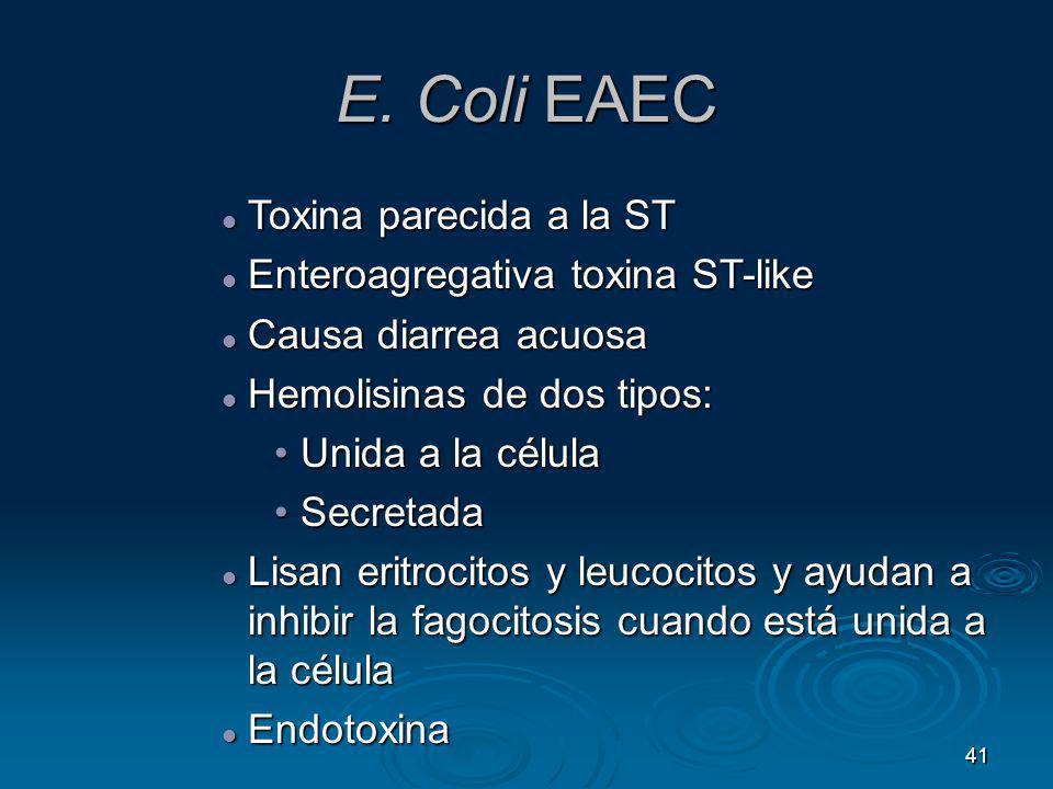 41 E. Coli EAEC Toxina parecida a la ST Toxina parecida a la ST Enteroagregativa toxina ST-like Enteroagregativa toxina ST-like Causa diarrea acuosa C