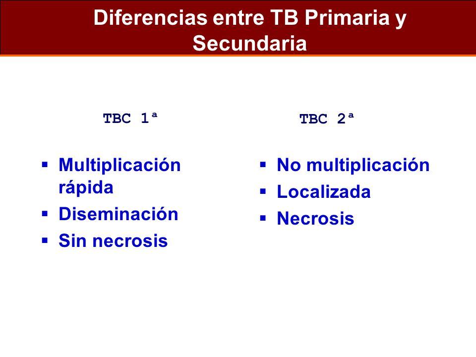 Diferencias entre TB Primaria y Secundaria Multiplicación rápida Diseminación Sin necrosis No multiplicación Localizada Necrosis TBC 1ª TBC 2ª