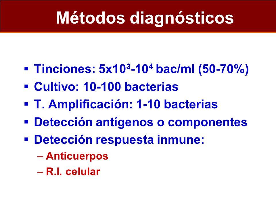 Métodos diagnósticos Tinciones: 5x10 3 -10 4 bac/ml (50-70%) Cultivo: 10-100 bacterias T. Amplificación: 1-10 bacterias Detección antígenos o componen