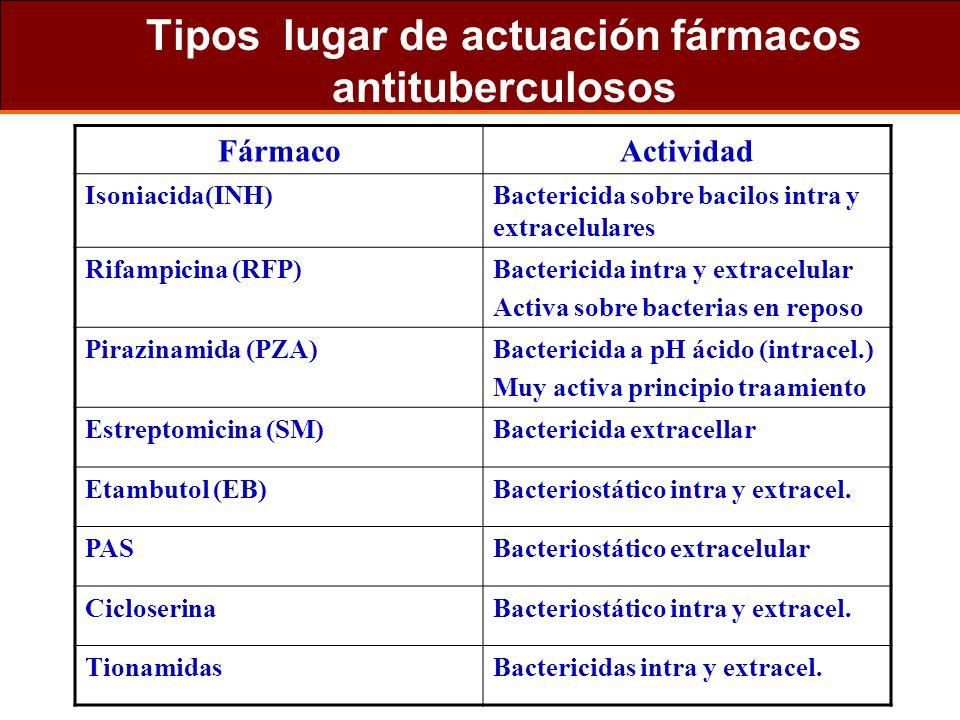 Tipos lugar de actuación fármacos antituberculosos FármacoActividad Isoniacida(INH)Bactericida sobre bacilos intra y extracelulares Rifampicina (RFP)B