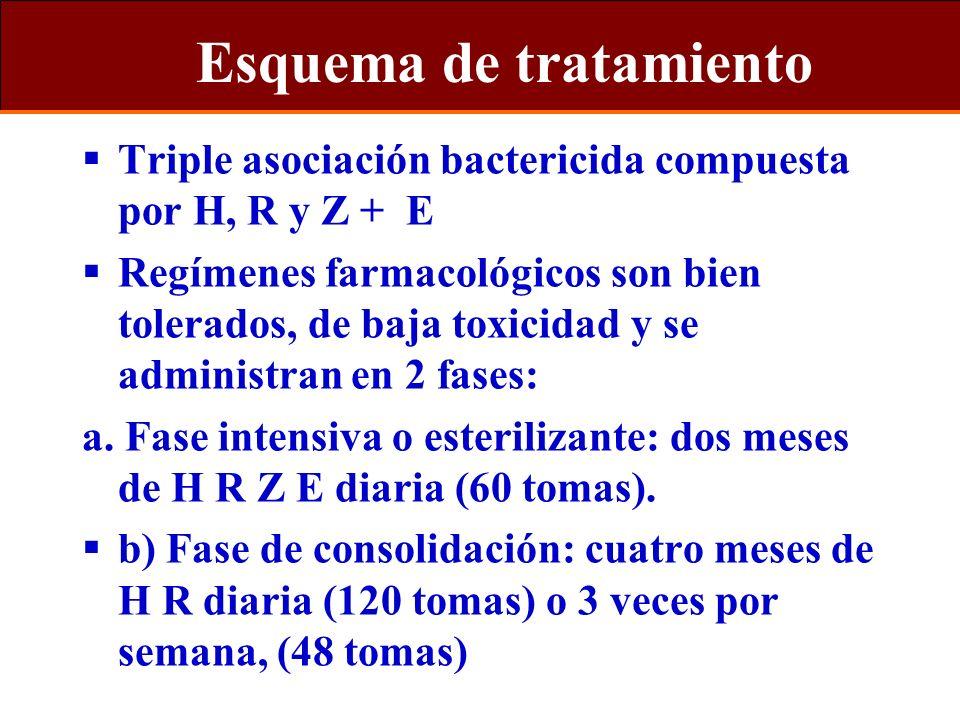 Esquema de tratamiento Triple asociación bactericida compuesta por H, R y Z + E Regímenes farmacológicos son bien tolerados, de baja toxicidad y se ad
