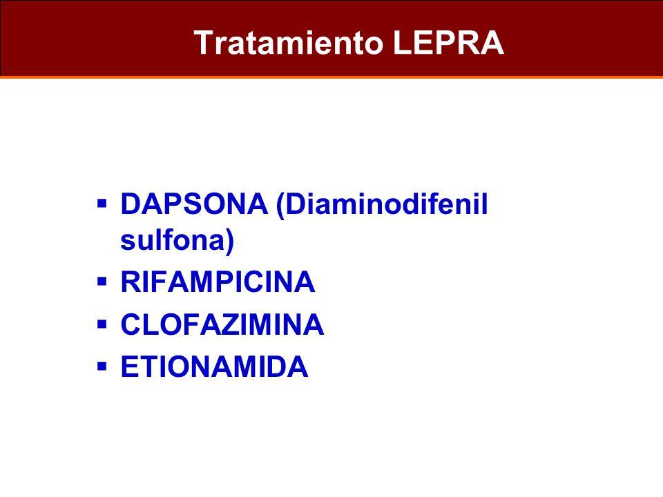 Tratamiento LEPRA DAPSONA (Diaminodifenil sulfona) RIFAMPICINA CLOFAZIMINA ETIONAMIDA