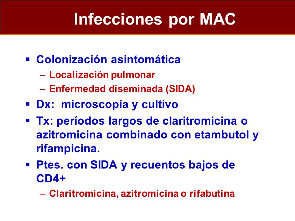 Infecciones por MAC Colonización asintomática –Localización pulmonar –Enfermedad diseminada (SIDA) Dx: microscopía y cultivo Tx: períodos largos de cl