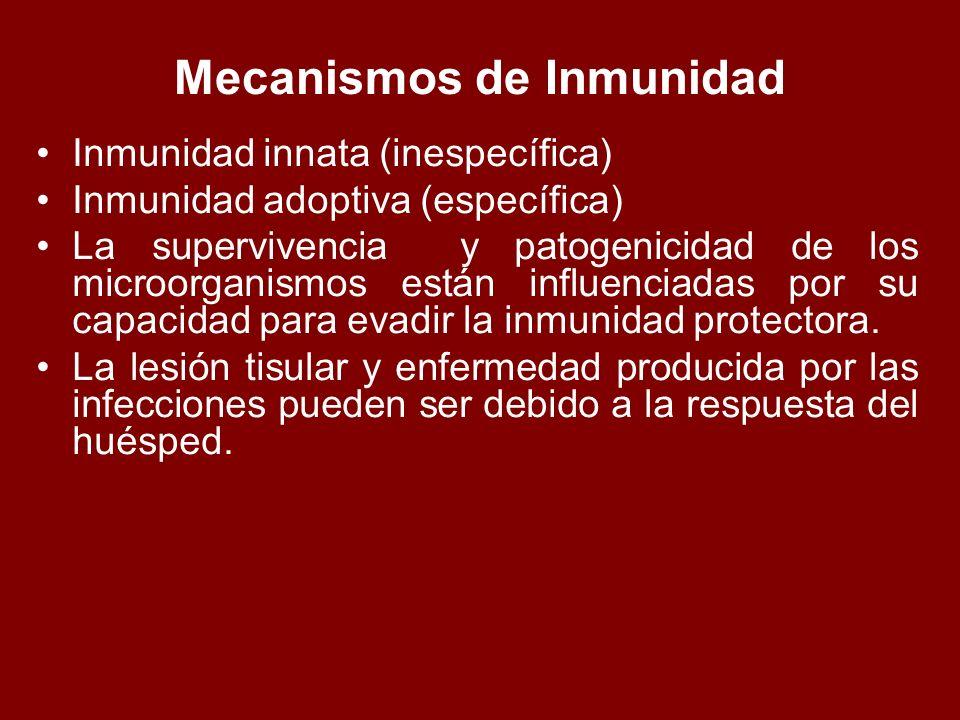 Mecanismos de Inmunidad Inmunidad innata (inespecífica) Inmunidad adoptiva (específica) La supervivencia y patogenicidad de los microorganismos están