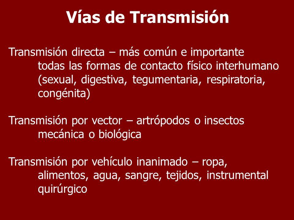 Vías de Transmisión Transmisión directa – más común e importante todas las formas de contacto físico interhumano (sexual, digestiva, tegumentaria, res
