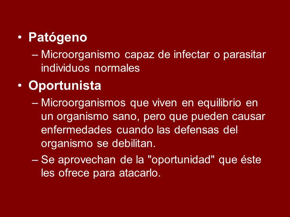 Patógeno –Microorganismo capaz de infectar o parasitar individuos normales Oportunista –Microorganismos que viven en equilibrio en un organismo sano,