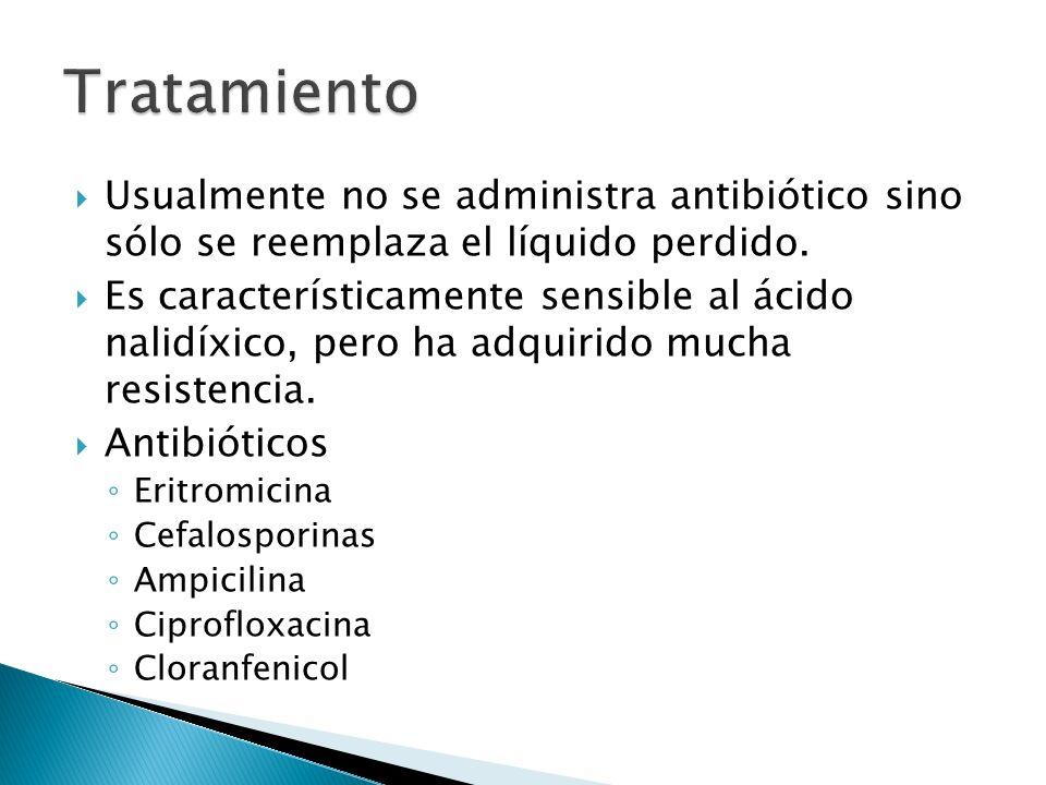 Usualmente no se administra antibiótico sino sólo se reemplaza el líquido perdido. Es característicamente sensible al ácido nalidíxico, pero ha adquir