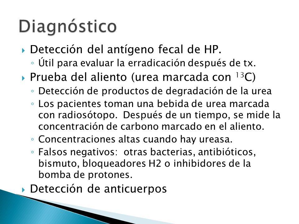 Detección del antígeno fecal de HP. Útil para evaluar la erradicación después de tx. Prueba del aliento (urea marcada con 13 C) Detección de productos