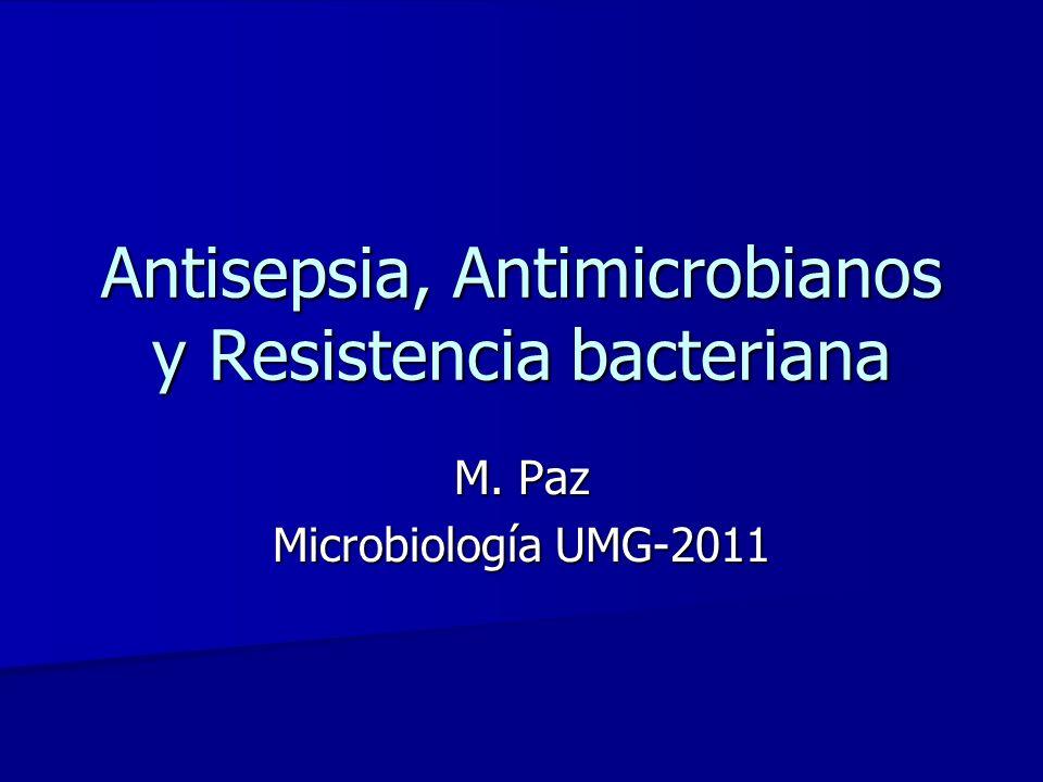 Antisepsia, Antimicrobianos y Resistencia bacteriana M. Paz Microbiología UMG-2011