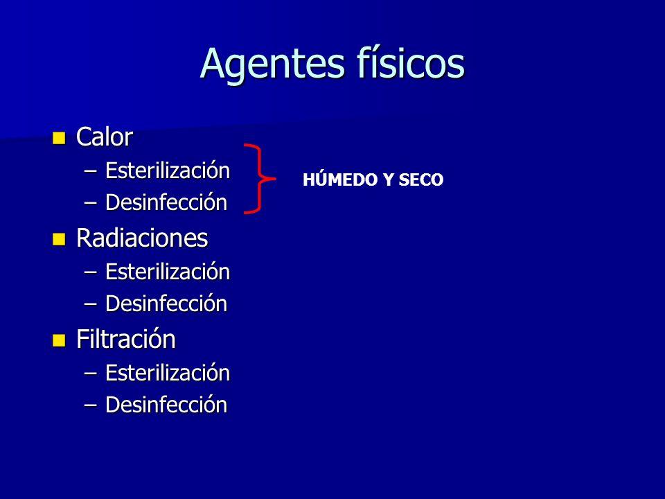 Agentes físicos Calor Calor –Esterilización –Desinfección Radiaciones Radiaciones –Esterilización –Desinfección Filtración Filtración –Esterilización –Desinfección HÚMEDO Y SECO