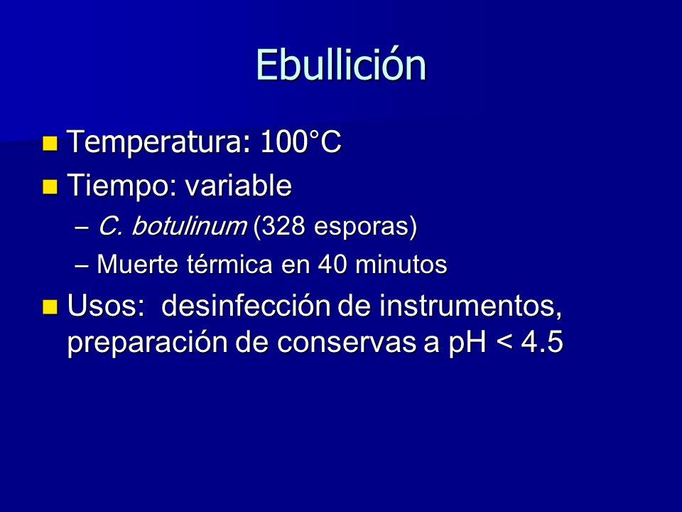 Temperatura: 100 °C Temperatura: 100 °C Tiempo: variable Tiempo: variable –C.