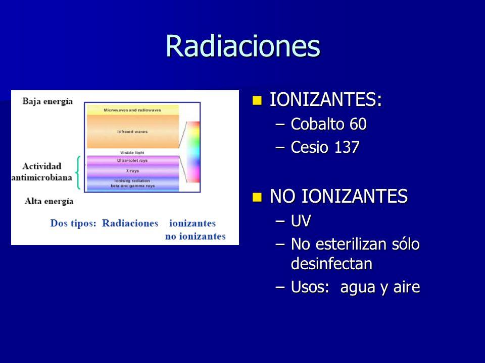 Radiaciones IONIZANTES: IONIZANTES: –Cobalto 60 –Cesio 137 NO IONIZANTES NO IONIZANTES –UV –No esterilizan sólo desinfectan –Usos: agua y aire