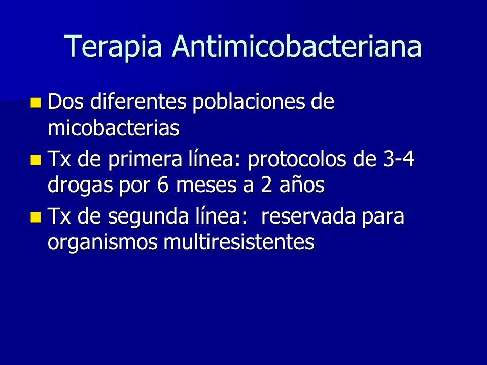 Terapia Antimicobacteriana Dos diferentes poblaciones de micobacterias Dos diferentes poblaciones de micobacterias Tx de primera línea: protocolos de 3-4 drogas por 6 meses a 2 años Tx de primera línea: protocolos de 3-4 drogas por 6 meses a 2 años Tx de segunda línea: reservada para organismos multiresistentes Tx de segunda línea: reservada para organismos multiresistentes