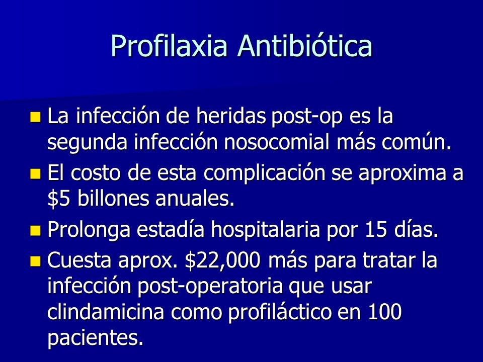 Profilaxia Antibiótica La infección de heridas post-op es la segunda infección nosocomial más común.