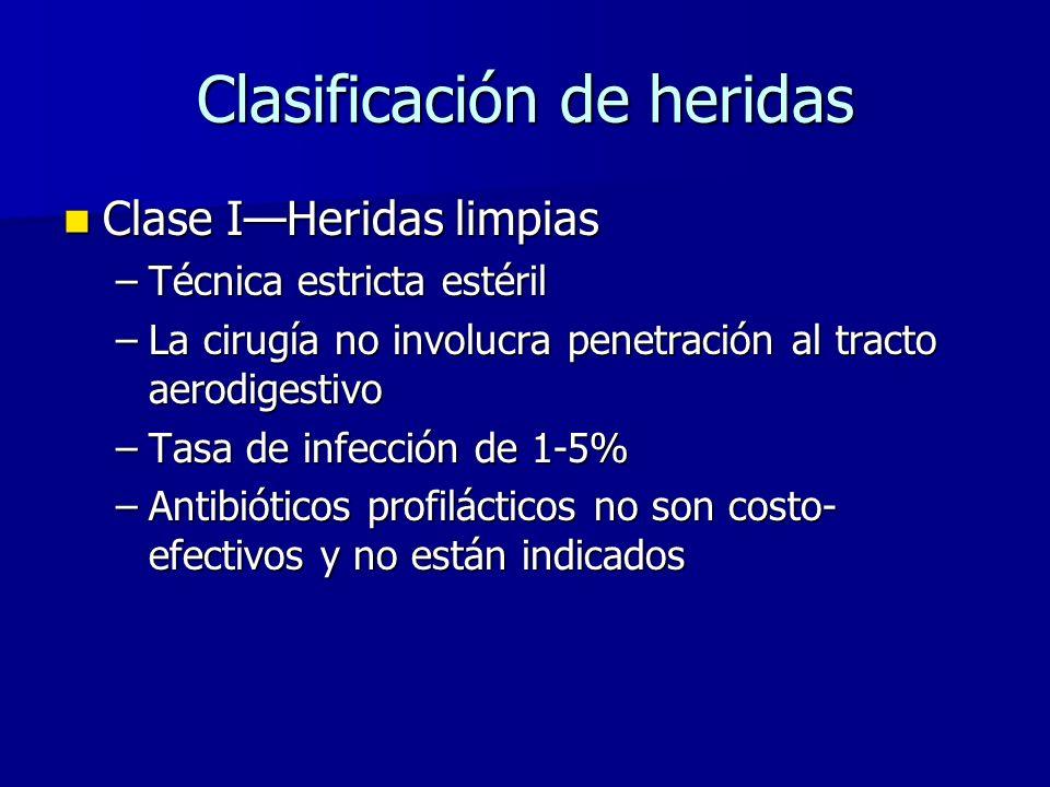 Clasificación de heridas Clase IHeridas limpias Clase IHeridas limpias –Técnica estricta estéril –La cirugía no involucra penetración al tracto aerodigestivo –Tasa de infección de 1-5% –Antibióticos profilácticos no son costo- efectivos y no están indicados