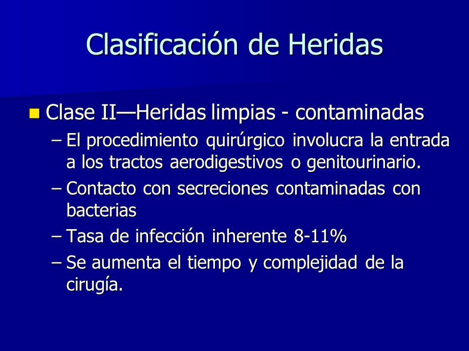 Clasificación de Heridas Clase IIHeridas limpias - contaminadas Clase IIHeridas limpias - contaminadas –El procedimiento quirúrgico involucra la entrada a los tractos aerodigestivos o genitourinario.