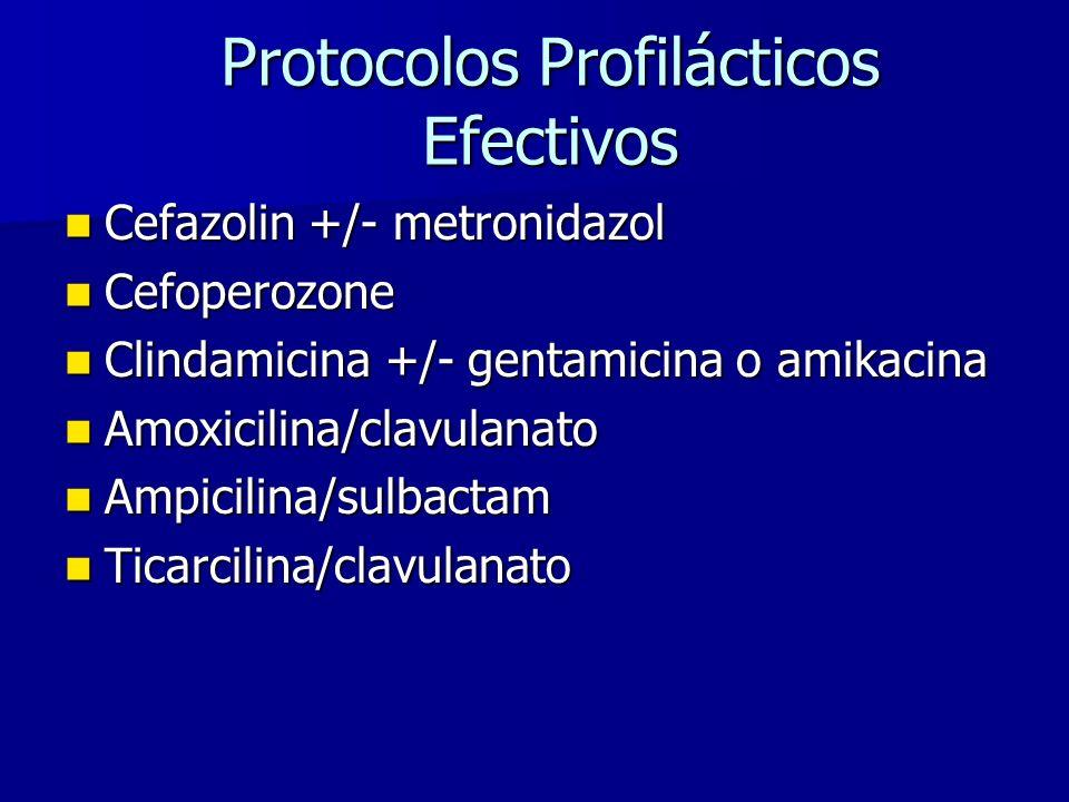 Protocolos Profilácticos Efectivos Cefazolin +/- metronidazol Cefazolin +/- metronidazol Cefoperozone Cefoperozone Clindamicina +/- gentamicina o amikacina Clindamicina +/- gentamicina o amikacina Amoxicilina/clavulanato Amoxicilina/clavulanato Ampicilina/sulbactam Ampicilina/sulbactam Ticarcilina/clavulanato Ticarcilina/clavulanato