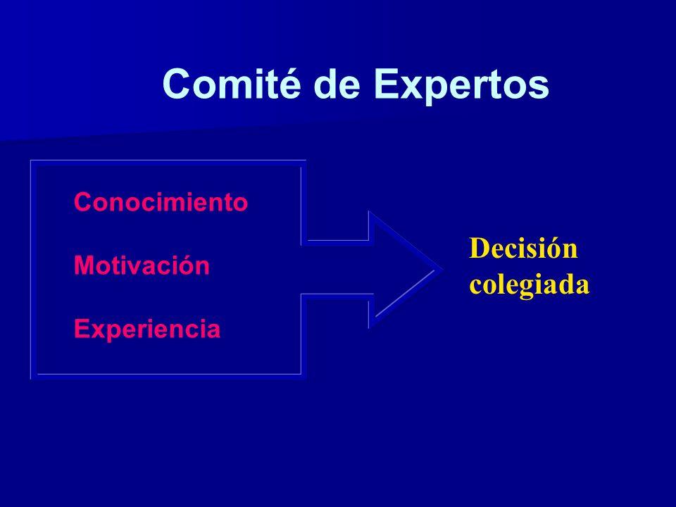 Comité de Expertos Conocimiento Motivación Experiencia Decisión colegiada