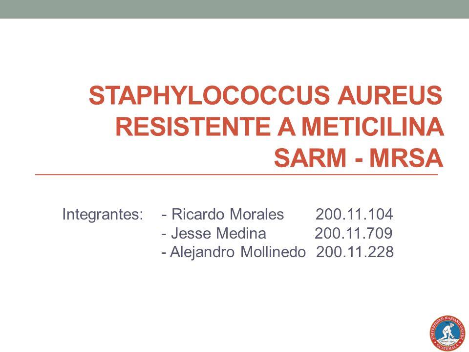 STAPHYLOCOCCUS AUREUS RESISTENTE A METICILINA SARM - MRSA Integrantes: - Ricardo Morales 200.11.104 - Jesse Medina 200.11.709 - Alejandro Mollinedo 20