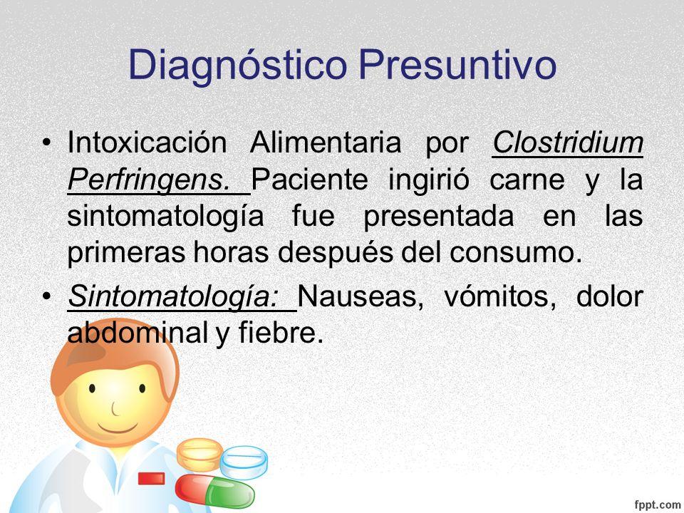 Diagnóstico Presuntivo Intoxicación Alimentaria por Clostridium Perfringens. Paciente ingirió carne y la sintomatología fue presentada en las primeras