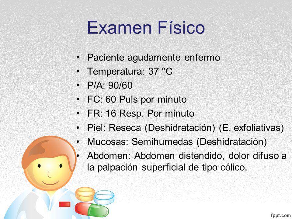 Examen Físico Paciente agudamente enfermo Temperatura: 37 °C P/A: 90/60 FC: 60 Puls por minuto FR: 16 Resp. Por minuto Piel: Reseca (Deshidratación) (