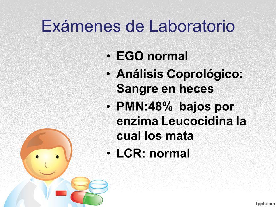 Exámenes de Laboratorio EGO normal Análisis Coprológico: Sangre en heces PMN:48% bajos por enzima Leucocidina la cual los mata LCR: normal