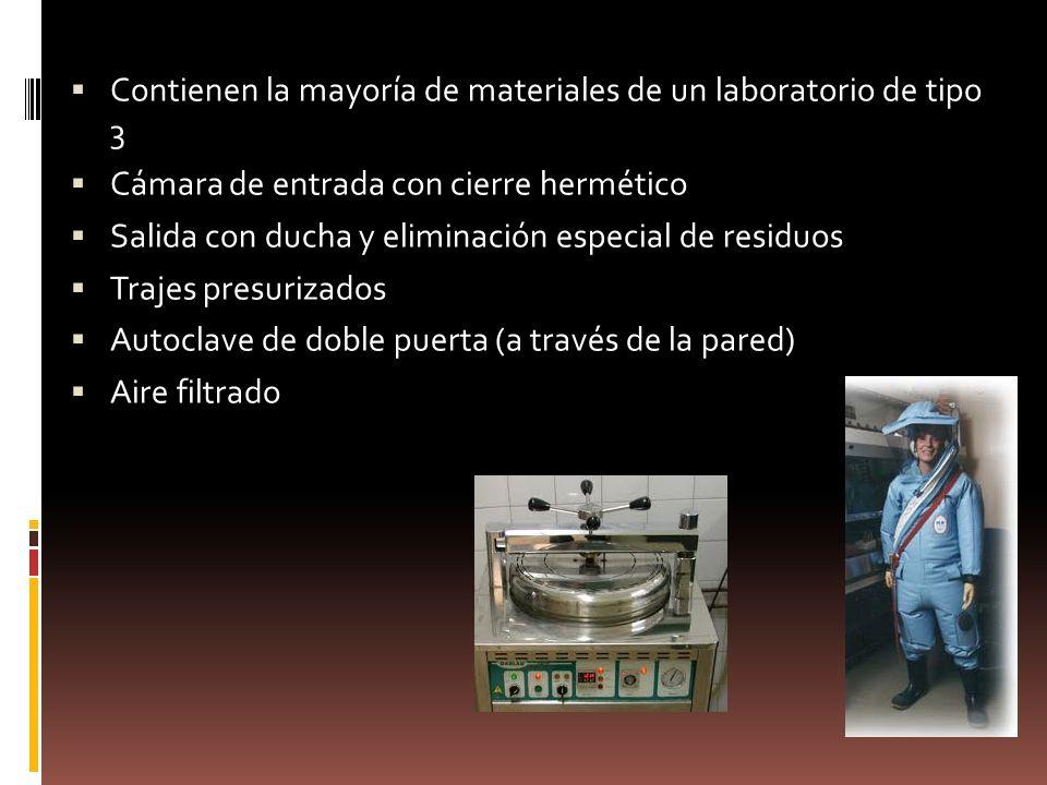 Contienen la mayoría de materiales de un laboratorio de tipo 3 Cámara de entrada con cierre hermético Salida con ducha y eliminación especial de resid