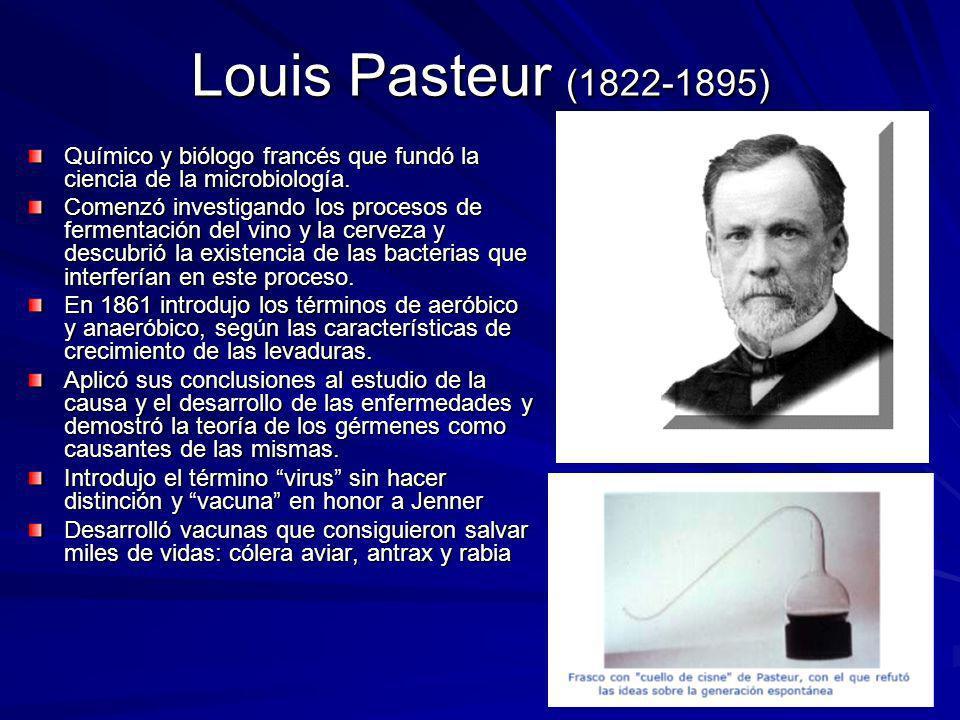 Louis Pasteur (1822-1895) Químico y biólogo francés que fundó la ciencia de la microbiología. Comenzó investigando los procesos de fermentación del vi