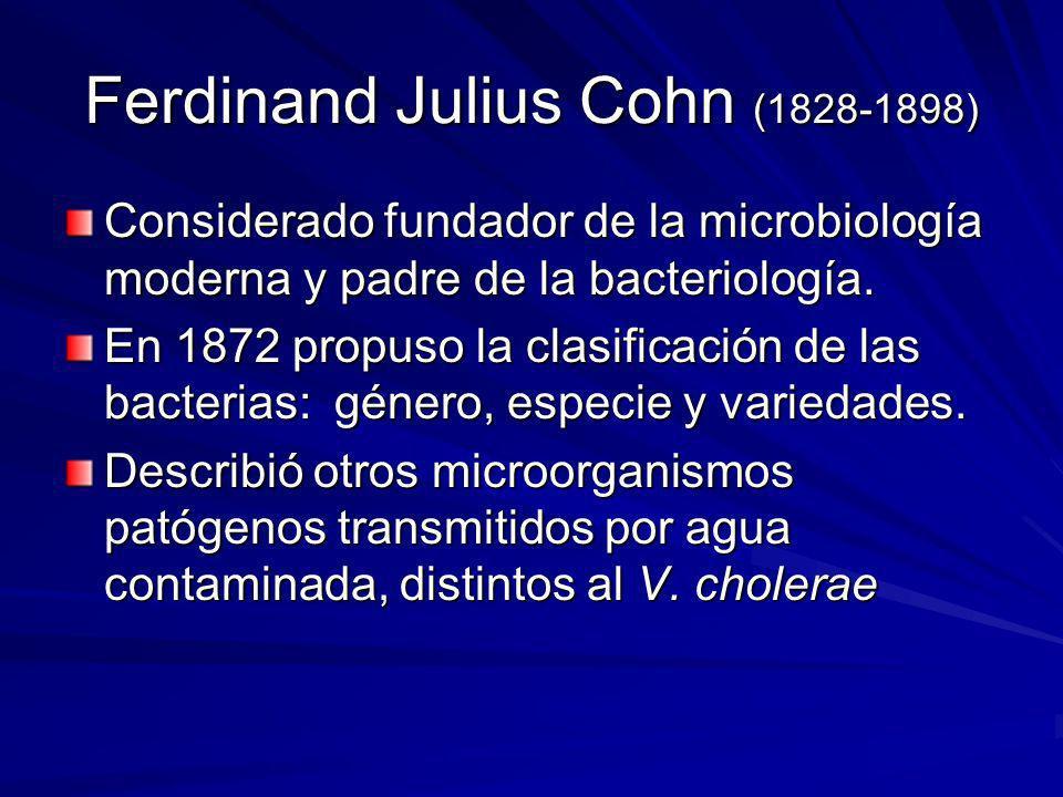 Ferdinand Julius Cohn (1828-1898) Considerado fundador de la microbiología moderna y padre de la bacteriología. En 1872 propuso la clasificación de la