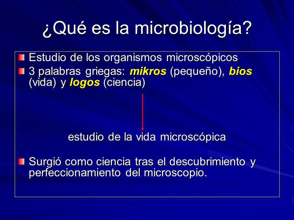 ¿Qué es la microbiología? Estudio de los organismos microscópicos 3 palabras griegas: mikros (pequeño), bios (vida) y logos (ciencia) estudio de la vi