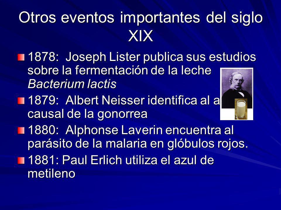Otros eventos importantes del siglo XIX 1878: Joseph Lister publica sus estudios sobre la fermentación de la leche Bacterium lactis 1879: Albert Neiss