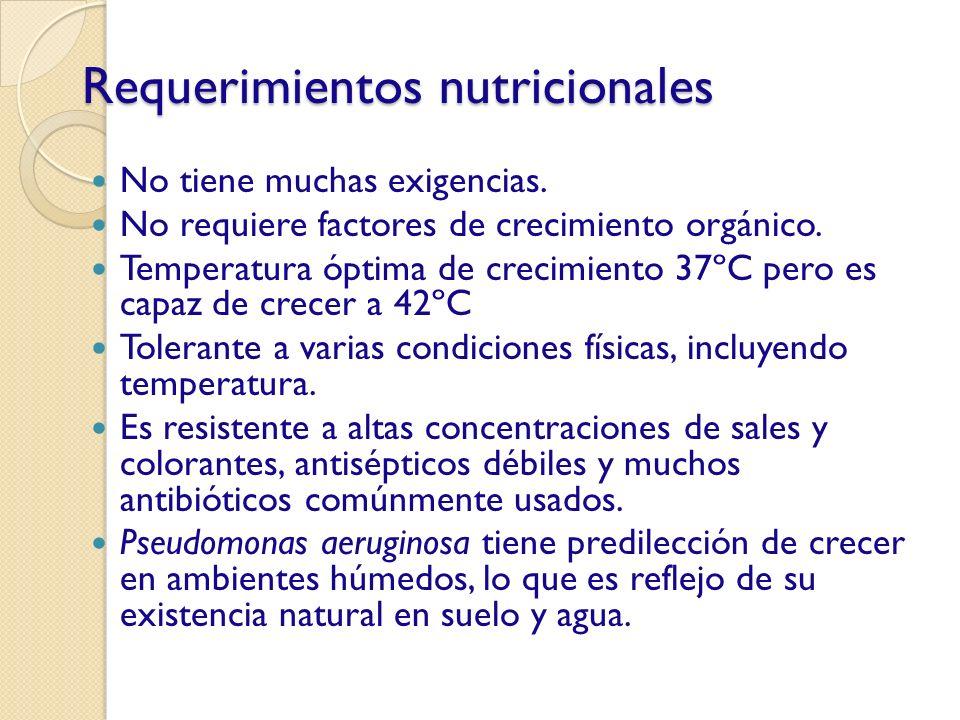 Requerimientos nutricionales No tiene muchas exigencias. No requiere factores de crecimiento orgánico. Temperatura óptima de crecimiento 37ºC pero es