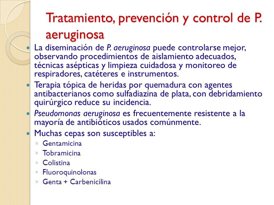 Tratamiento, prevención y control de P. aeruginosa La diseminación de P. aeruginosa puede controlarse mejor, observando procedimientos de aislamiento