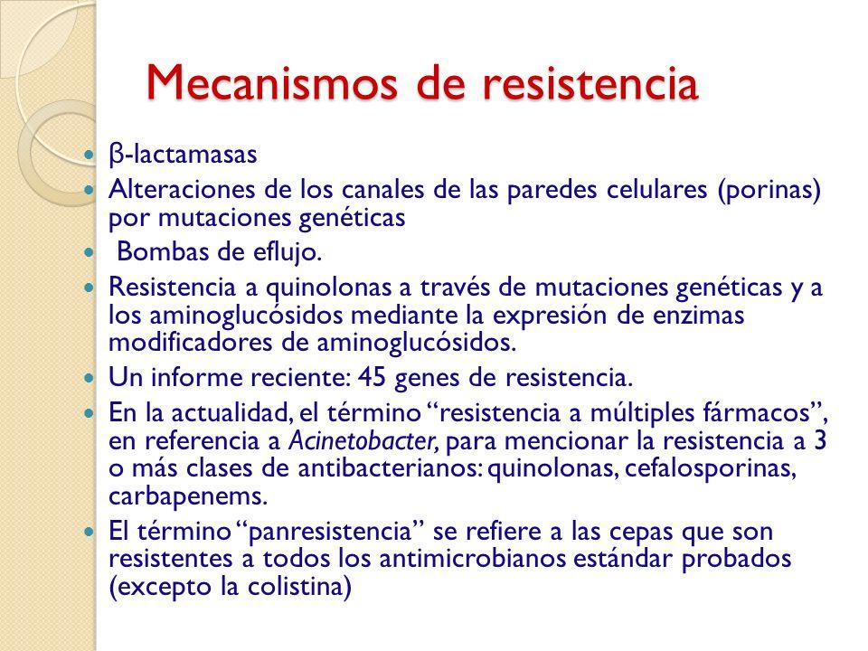 Mecanismos de resistencia β -lactamasas Alteraciones de los canales de las paredes celulares (porinas) por mutaciones genéticas Bombas de eflujo. Resi