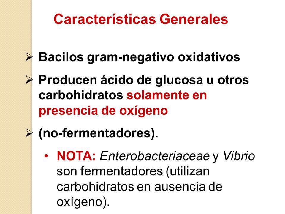 Características Generales Bacilos gram-negativo oxidativos Producen ácido de glucosa u otros carbohidratos solamente en presencia de oxígeno (no-ferme