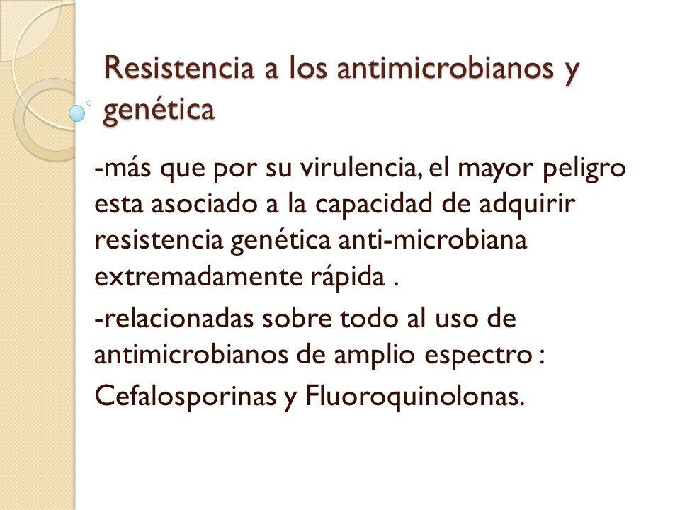 Resistencia a los antimicrobianos y genética -más que por su virulencia, el mayor peligro esta asociado a la capacidad de adquirir resistencia genétic