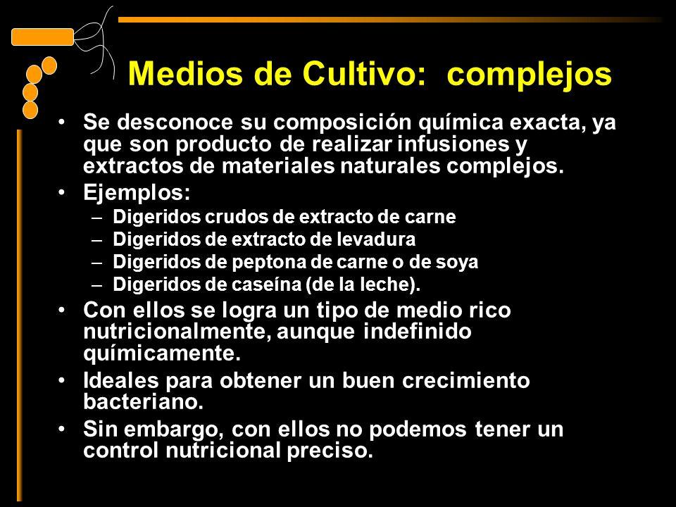 Medios de Cultivo: complejos Se desconoce su composición química exacta, ya que son producto de realizar infusiones y extractos de materiales naturales complejos.