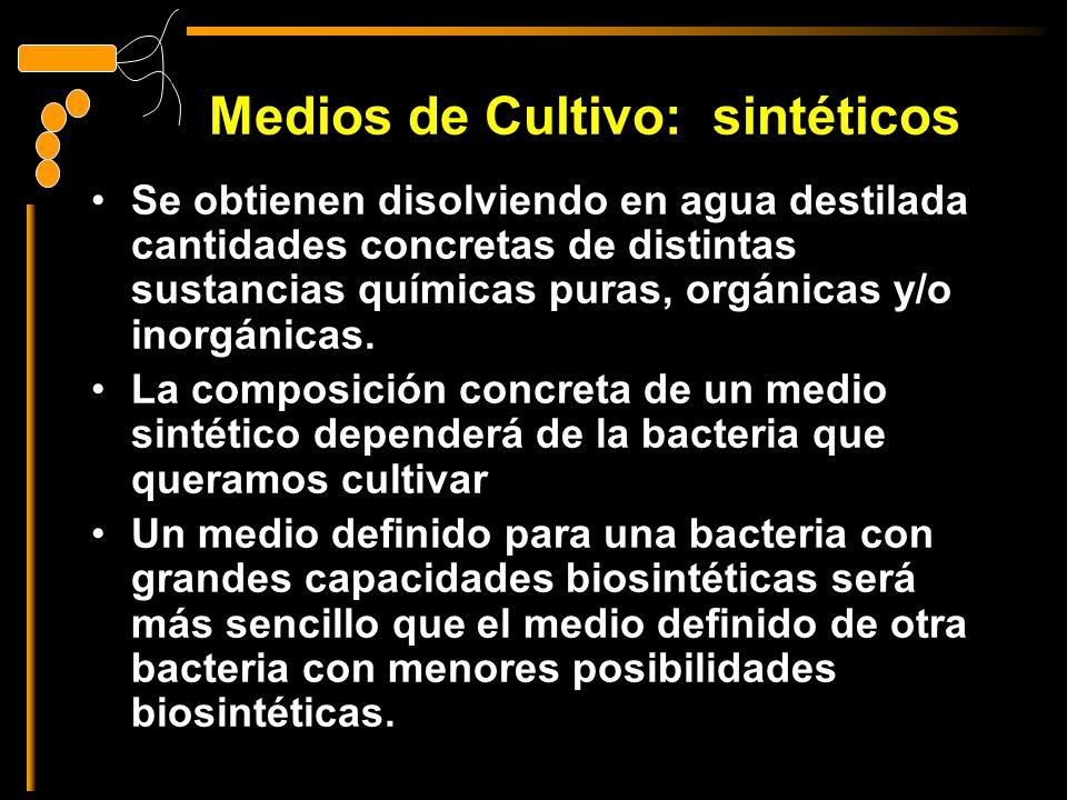 Medios de Cultivo: sintéticos Se obtienen disolviendo en agua destilada cantidades concretas de distintas sustancias químicas puras, orgánicas y/o inorgánicas.